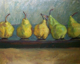 il painting Interior picture Wall art Picture Original art Home decor Still life Pears Yellow fruits