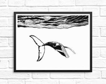 Whale Print- Whale Art, Whale Decor, Nautical Wall Decor, Ink art, Brush art, Modern ink art, Minimalist prints, Giclee print