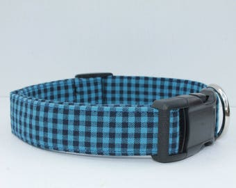 """Blue Male Mini Buffalo Plaid Dog Collar /  Blue Gingham """"The Bay""""  also available in orange, red, purple, green, yellow, navy blue"""