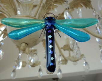 Fused glass dragonfly in shades of blue iridised, transparent and dichroic glass, 15cmx10cm