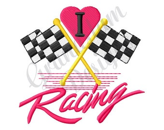 I Love Racing - Machine Embroidery Design