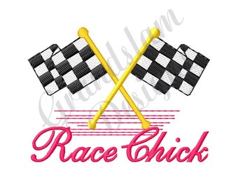 Checkered Flags Race Chick - Machine Embroidery Design