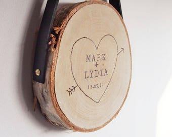 Personalised wedding print, wedding art, personalised rustic wood slice, wall art, wedding couples print, wedding sign