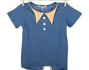 Blue and yellow collared T-shirt