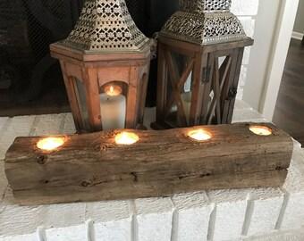 Wood Log candle holder