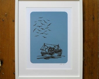 Boaty McBoatface - A3 Limited Edition Screen Print Fishing Boat Print