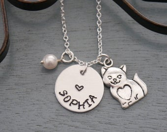 Personalized Cat Necklace, Cat Name Necklace, Cat Necklace, Name Necklace, Name Birthstone Necklace, Little Girl Cat Necklace, Custom