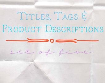 SEO Titles, Tags, and Product Descriptions - Etsy Listing Descriptions - Shop SEO Improvement - Item Descriptions - Etsy Shop Help