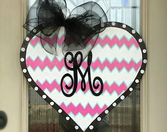 Heart door hanger with initial, Valentine's door hanger, Heart door hanger, Valentine door hanger