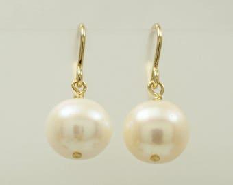 White freshwater pearl(10.5mm) earrings  dangle earrings gold filled  hooks  pink hues everyday jewelry gift to buy short shepherd hooks