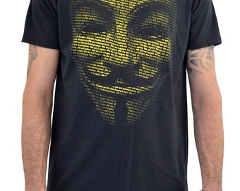 "Mens T-shirt ""ANONYMOUS MASK 2"" Water Colors Screen Print"