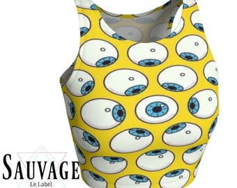 Eyes Balls Trippy athletic (or not) Crop top - be yoga and festivals ready - Totally handmade XS to XL