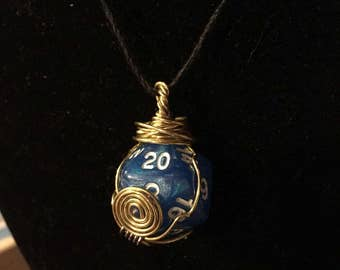 Blue and gold D20 necklace