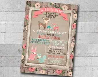 Girl Baby Shower Invitation Little Deer Woodland Animals Creatures Floral Rustic Wood Burlap Printable Digital I Customize For You