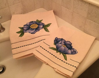 Couple towels blue Peony