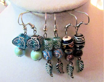 Teal, Blue, and Brown Feather Cultural Theme Dangle and Drop Earrings Set