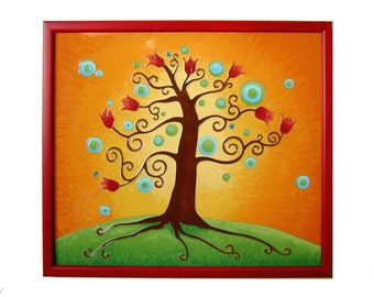 Tree of Life Orange Home Decor Original Painting Wedding Gift Tree Wall Decor Glass Painting Tree Unique Mural Anniversary Gift For Women