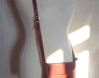Casani Made in Italy vintage chestnut leather cross body shoulder bag