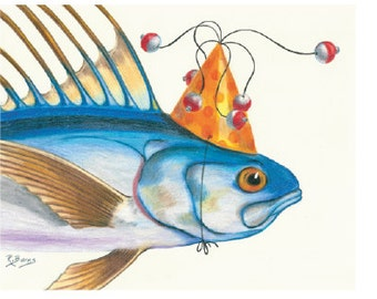 Party Roosterfish Print Gifts for Him Fishing Fisherman Roxanne Burns Flying Hostess Gift Gamefish California Deep Sea notecards Art