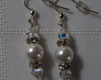 """Swarovski White Pearl & Clear Crystal Earrings - The """"Melissa"""" with Crystal Roundels, Sterling Silver Earwires/Wedding/Bridal/All Occasion"""