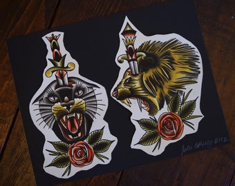 CATS! Tattoo Flash Print