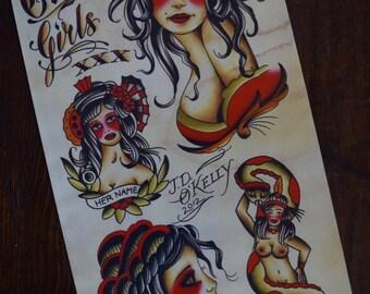 Girls, Girls, Girls Tattoo Flash Print