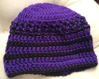 Crocheted Purple and black beanie hat