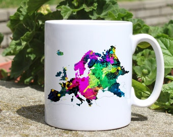 Europe map mug - Map mug - Colorful printed mug - Tee mug - Coffee Mug - Gift Idea