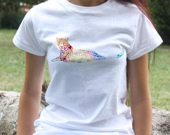 Leopard t-shirt - animal tee - Fashion women's apparel - Colorful printed tee - Gift Idea