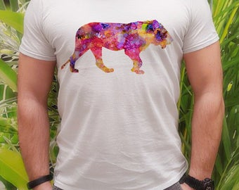 Female lion tee - Lion t-shirt - Fashion men's apparel - Colorful printed tee - Gift Idea
