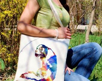 Cavalier King Charles Spaniel tote bag -  Dog shoulder bag - Fashion canvas bag - Colorful printed market bag - Gift Idea