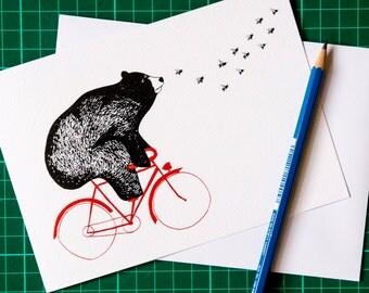 Bear on the Bike Greetings Card