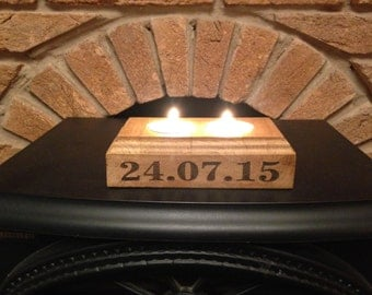 Solid Oak Personalised Two Tea Light Holder