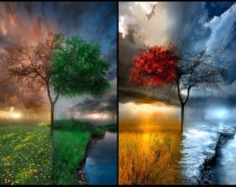The Four Seasons Weather Art (poster pring) -  weather changes according to the four seasons.