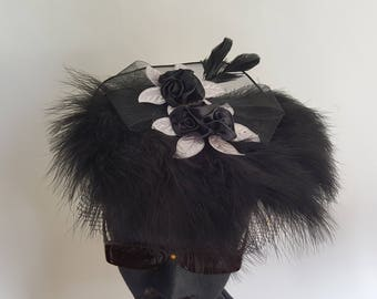 Derby Day Black Feather with Silver & Black Satin Flowers Fascinator