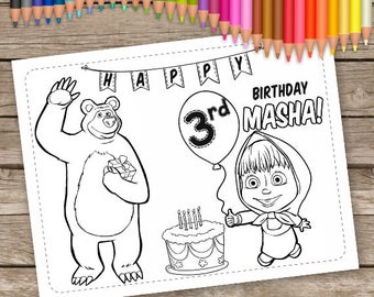 Masha and Bear Coloring Pages, 6 Birthday Coloring Pages, Masha Activity Sheet, Masha and Bear Birthday