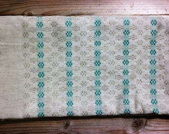 Vintage Swedish Linen tablecloth - traditional design in light grey and mint (green)