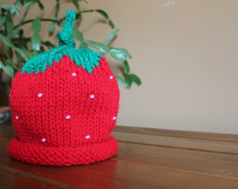 Handmade Knit Strawberry Hat for Baby