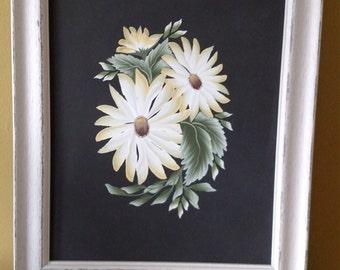 Framed ORIGINAL Acrylic Flower Painting
