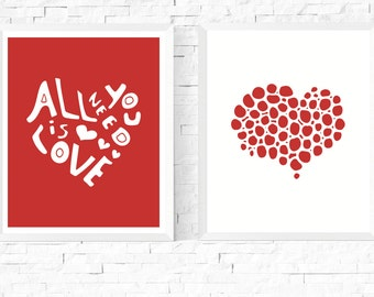 Red Art | Two Hearts Printables | Hygge Art | Red and White | 2 Set | Modern Art | Scandinavian | Abstract Print | Couple Art