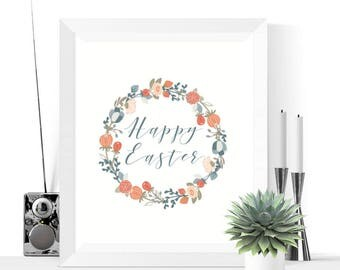 Happy Easter Floral Wreath Printable Decoration | Easter Decor | Easter Decorations | Easter Printables | Easter Wreath