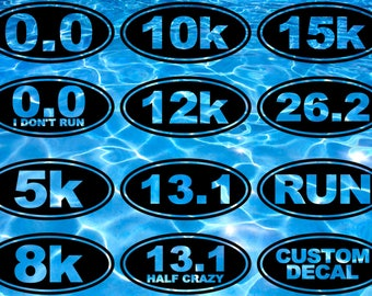 Running Stickers, Running Decal, Running Gifts, Marathon, Bumper Sticker, Car Window Decal, 0.0, 5k, 8k, 10k, 12k, 13.1, 15k, 26.2, Run