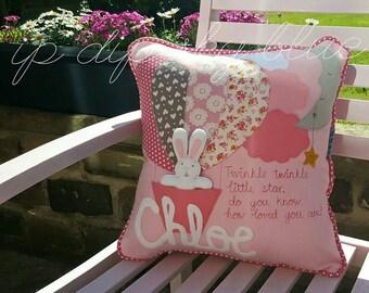 Girl Bunny Hot Air Balloon Cushion -  Rabbit Pink Vintage Grey Floral Pillow