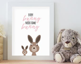 Every Bunny Needs Some Bunny, 11x14 Digital Download Prints, Wall Art, Girl Nursery, Rabbit Nursery, Playroom, Arbor Grace Collections