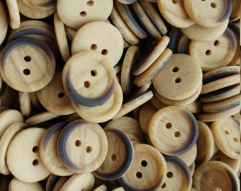 Vintage Fake Wood Small Buttons x 20 Faux Bois Plastic Deadstock Retro