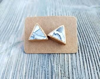 Marble Triangle Earrings, Marble Stud Earrings, Triangle Stud Earrings, Black and White Earrings, Triangle Earrings, Birthday Gift