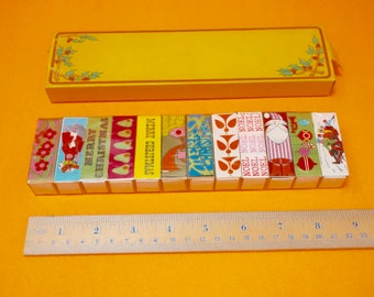 Vintage Christmas Matches // Set of 12 matches boxes // Retro Christmas matches // Christmas Decor // Made in Japan