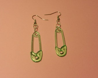 Lime Green Safety Pin Earring Set