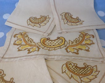 French linen embroidered napkins and table runner