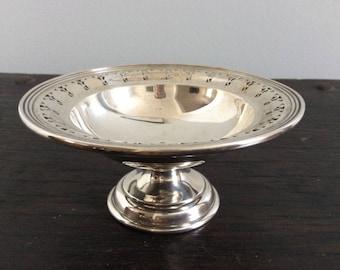 Sterling Silver Pedestal Dish / 925 / Tiazza / Candy or Bon Bon Dish / High tea